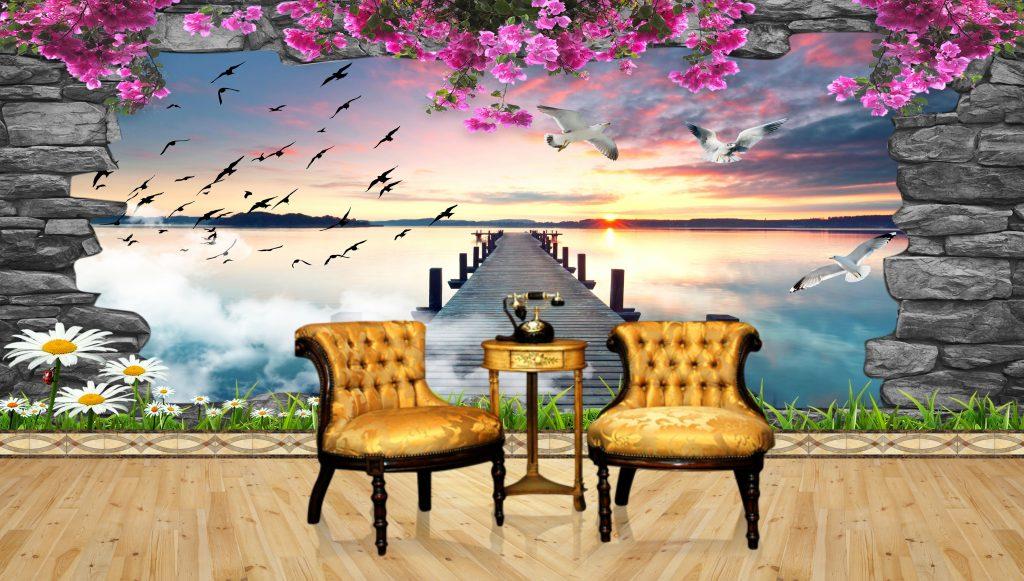 3d natural psd wall wallpaper free download